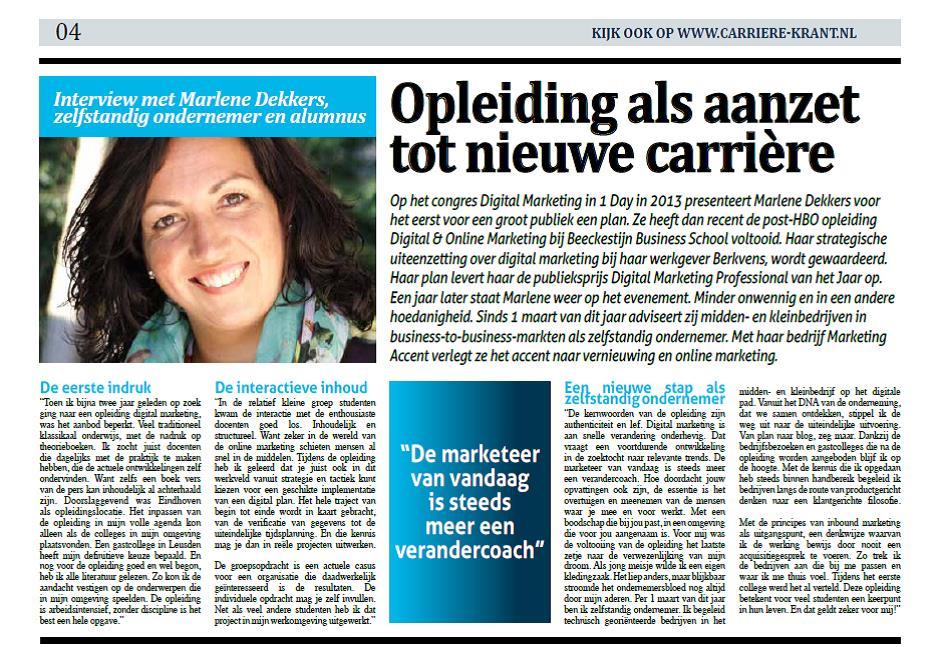Marlene Dekkers - Marketing Accent Carrierekrant Beeckestijn Business School 21-01-15