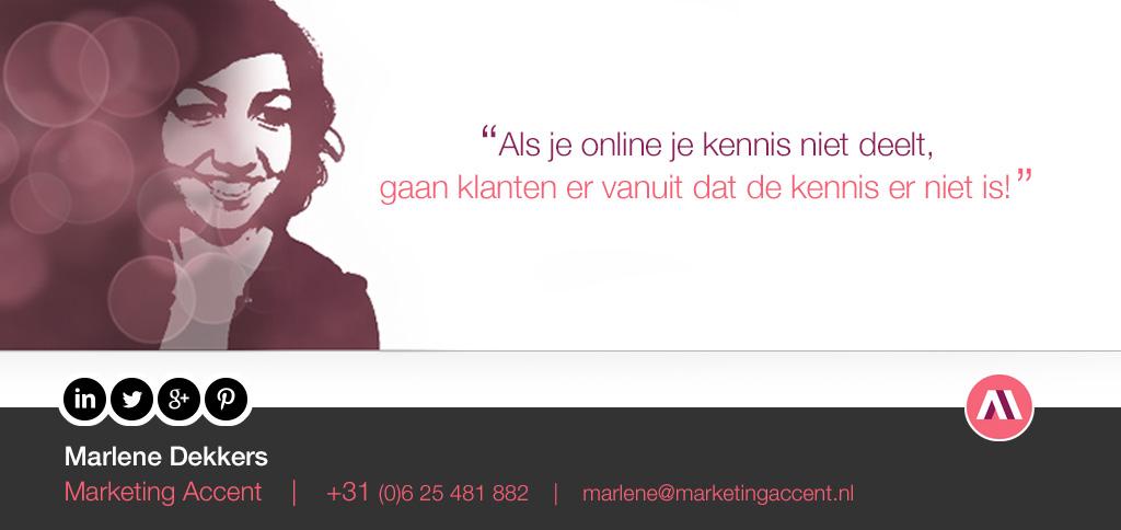 Marlene Dekkers, Marketing Accent B2B marketing online kennis delen