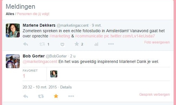 Twitter reactie referentie Marketing Accent