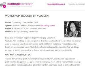 workshop bloggen en vloggen Marlene Dekkers bij Babbage Company