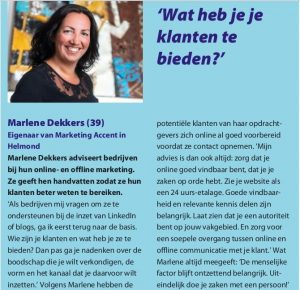 Ledenmagazine Rabobank Dichterbij 3-18 bijdrage Marlene Dekkers - Marketing Accent